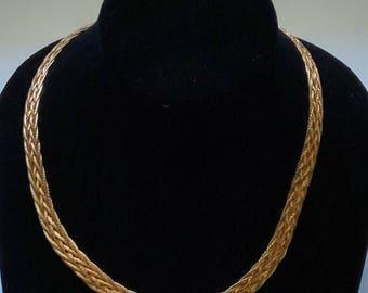 Vintage Avon Gold Tone Braided Herringbone Chain Necklace