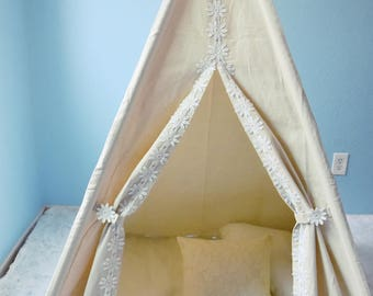 Vanise Daisy Canvas Adult/Kids Teepee, Play Tent, Play House, Tipi, Room Decor