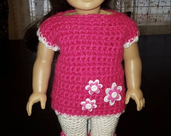Crocheted 18 Inch Doll Sweater and Capris