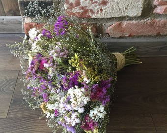 Dried flower bouquet, vase filler, dried statice, dried wild babies breath, natural home decor, dried flowers