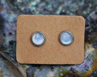 Moonstone earrings rainbow moonstone earrings moonstone jewelry moonstone studs gemstone jewelry genuine moonstone minimalist earrings boho