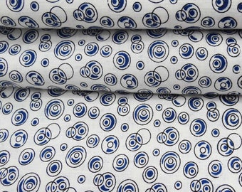 "Indian Dress Fabric, Blue Print, White Fabric, Cotton Fabric, Home Accessories, Designer Fabric, 56"" Inch Fabric By The Yard ZBC7394A"