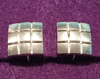 25%OFF Tic Tac Toe metal Clip-on Earrings - CA 1950's - Item VC 130