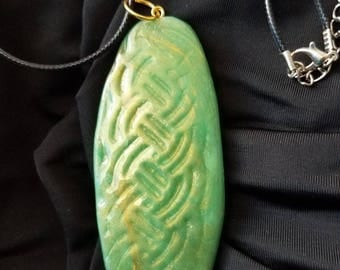Jaded Texture Polymer Clay Pendant