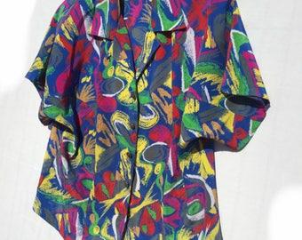 Vintage blouse//woman blouse//vintage shirt//short sleeve blouse//vintage top//size M