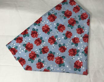 Light Blue Floral Over The Collar Bandana