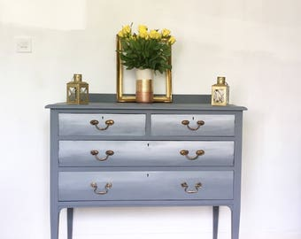 Beautiful grey ombré hand painted chest of drawers