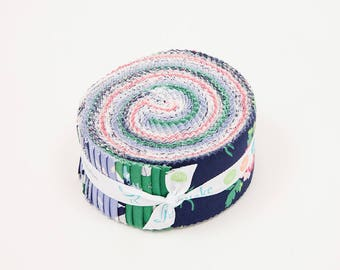 SALE Derby Day 2.5 Inch Rolie Polie Jelly Roll 40 pieces Riley Blake Designs - Precut Pre cut Bundle Horses Floral - Quilting Cotton Fabric