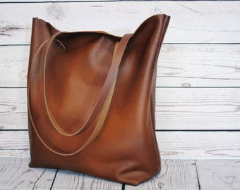 Cognac leather tote, nappa leather, shopper, leather bag, leather purse, nappa leather