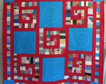 Modern Quilt, Patchwork Rainbow Quilt, Contemporary Quilt, Blue and Red Quilt, Throw or Lap Quilt, Christmas or Birthday Gift, Free Shipping