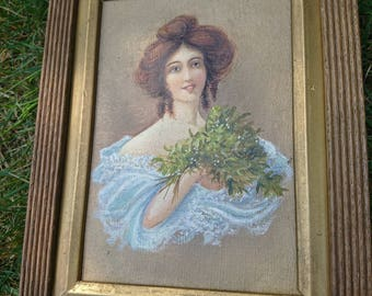 Pretty portrait painting of a Victorian/Edwardian lady holding Mistletoe