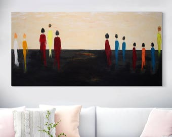 """Large Original Oil Painting On Canvas, Huge Painting, Large Abstract People, Desert Landscape, Wall Art, Fine Art, Housewarming 27"""" X 70"""""""