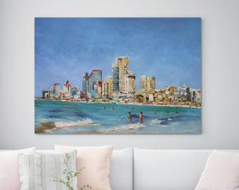 "Large Original Oil Painting On Canvas, Huge Seascape Painting, wall art, Beach Painting, Modern Art, Blue, Summer, People Painting 35"" X 62"""