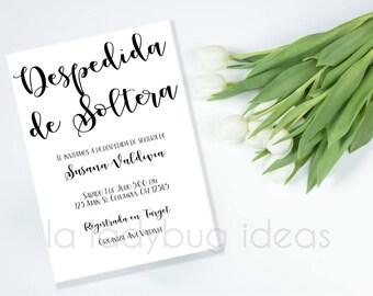 Invitación digital para despedida de soltera. Invitación imprimible para despedida de soltera. Minimal bridal shower invitation, printable.