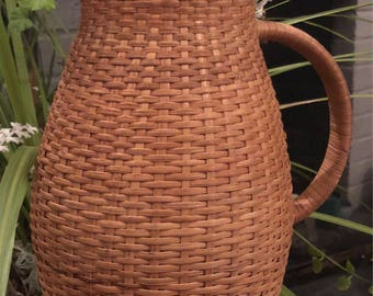Vintage Corning ware Rattan  Hot/Cold Thermos Carafe Pitcher