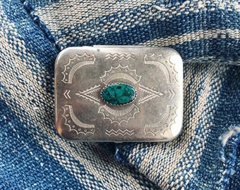 Vintage ornate sterling and turquoise trinket or pill box with hand-stamped detail
