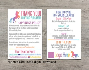 PRINTED Card - Printed Thank You Card - Printed Care Card - Happiness Policy - Custom Thank you Card