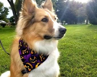 Jack-o-lantern Dog Bandana, Pumpkin Dog Bandana, Purple Dog Bandana, Halloween Bandana, Spooky Bandana