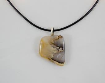 Graveyard Plume Agate Handmade Pendant on Black Cord Necklace