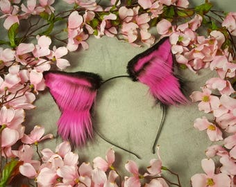 Hot Pink and Black Wolf Ears
