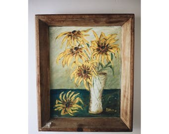 1967 Original Flower Painting / Vintage Daisy Painting