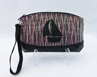 Sailcloth Wristlet, Sailboat, Red, Carbon Fiber Sailcloth Bag, Recycled Sail Wrist Bag, Nautical Bag, Recycled Sail Cloth Bag, Clutch Bag
