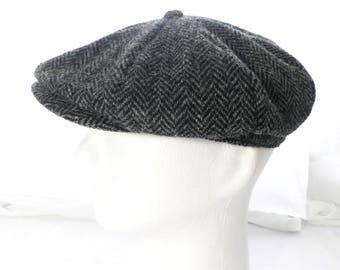 Vintage Harris Tweed Flat Cap     Size 25 inches / 64 cm