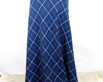 Vintage Blue Green and White Plaid / Tartan Maxi Skirt by Shelana London 1960s   Size S