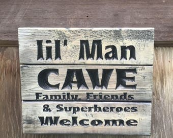 Carved Lil Man Cave sign - boys room decor - baby boy's room - FREE SHIPPING in the USA