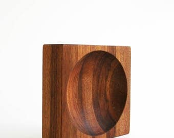 Danish Modern Staved Teak Wood Square Round Dish Bowl