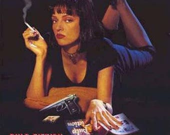 Pulp Fiction Film Review Uma Thurman  Rare Vintage Poster
