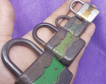 Antique lot of 4 warded padlocks