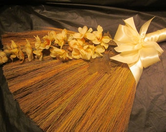 Jump Broom - SALE!  20.00 - Decorated Jump Broom - for Jumping the Broom Ceremony (Was 59.00) (IVORY)