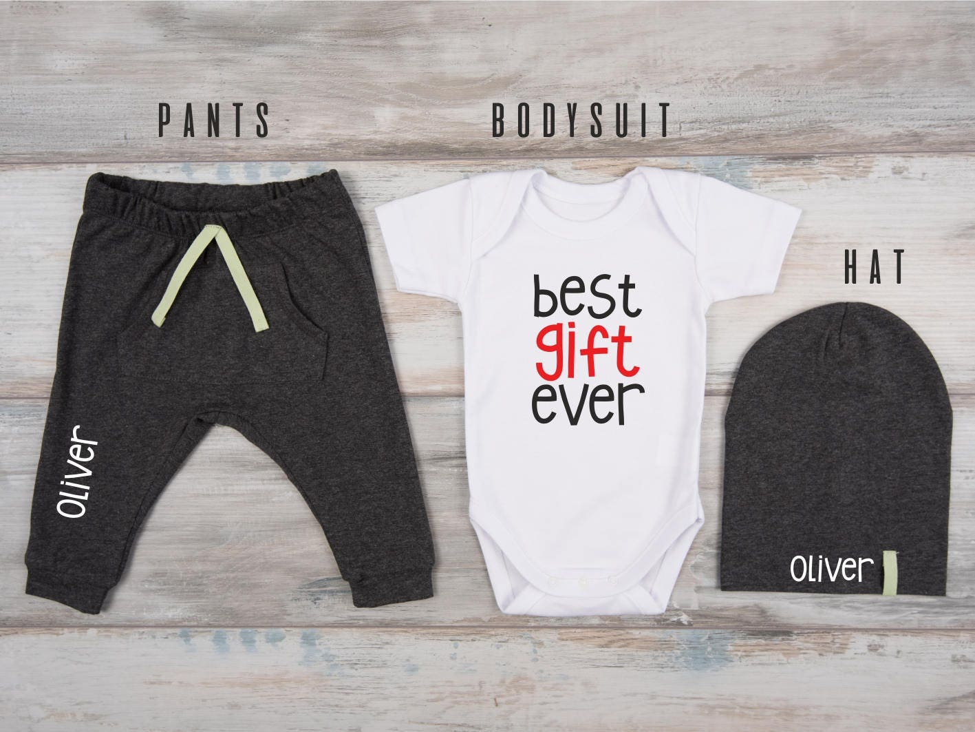 1st Christmas Outfit Personalized Hat Pants Best Gift Ever