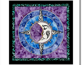 "Fine Art India Ink Moon Painting - Limited Edition - ""Stained Glass"" Collection - ""Renea's Moon"" - 16x16 Giclee Print"