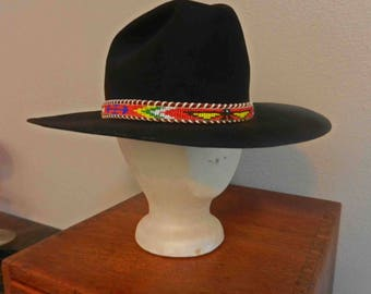 Cool Black Felt Cowboy Hat w/ Vintage 60's Indian Beaded Belt Hatband Sz. 7 1/2