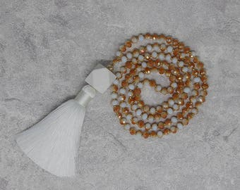 Boho white crystal beads necklace long tassel necklace faceted crystal necklace crystal beads necklace tassel necklace yoga necklace NL-069