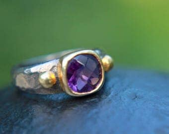 Sterling silver 925 oxidized ring with natural amethyst stone