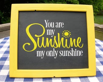 You Are My Sunshine - Wood Sign - Handpainted, Yellow Frame - 14 x 16