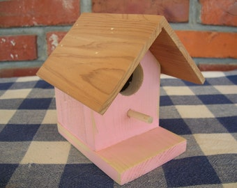 Pink Birdhouse - Cedar, Small, Decorative - Indoor, Outdoor Birdhouse, Porch, Patio, Garden