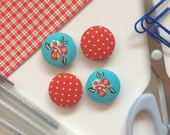 Floral Magnets, Magnets, Refrigerator Magnets, Turquoise Kitchen Decor, White Board Magnets, Red Decor, Floral Decor, Turquoise Decor