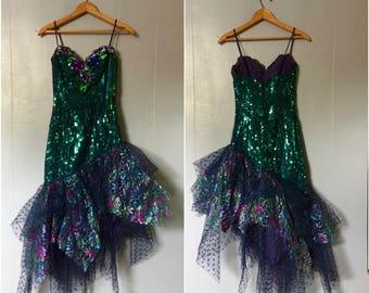 80's Magical Sequins Mermaid Dress xs/s