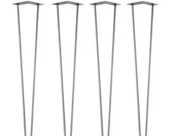 4 Premium Hairpin Legs . Silver Steel - Two Rod - 72cm