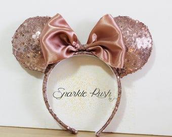 Rose Gold Inspired Mickey Ears/MinnieEars/Bow/Ears/Rose Gold/Mickey/Minnie/Rose Gold Mickey Ears/Rose Gold Minnie Ears/Mickey Ears