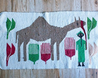 Vintage Small Camel Rug