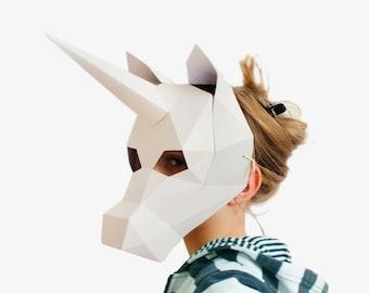 Unicorn mask, Animal Mask, Kids Mask, Halloween Costume Kid, DIY printable paper animal mask for children, Instant Pdf download, DIY Unicorn