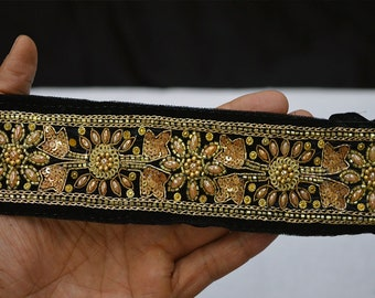 Black Saree Border Velvet Fabric Trim By The Yard  Laces and Trims Indian Embroidered Wholesale Trimmings Ribbon Indian Sari Border gold