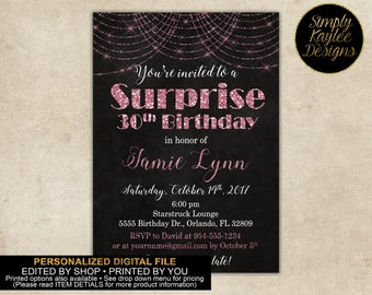 Pink and Black Sparkle Surprise Birthday Party Invitation