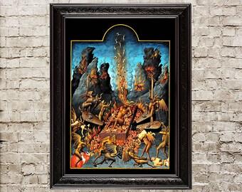 Hell, inferno, hell wall decor, hell home design, hell fire, demons, demon print, demon poster, handmade paper art, devil print, sinners,246