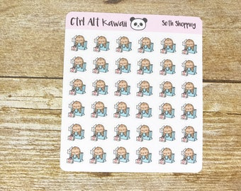 Seth the Sloth: Shopping Planner Stickers